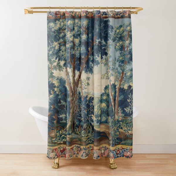 GREENERY, TREES IN WOODLAND LANDSCAPE Antique Flemish Tapestry Shower Curtain
