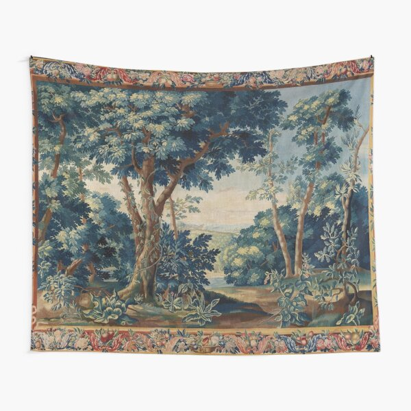 GREENERY, TREES IN WOODLAND LANDSCAPE Antique Flemish Tapestry Tapestry