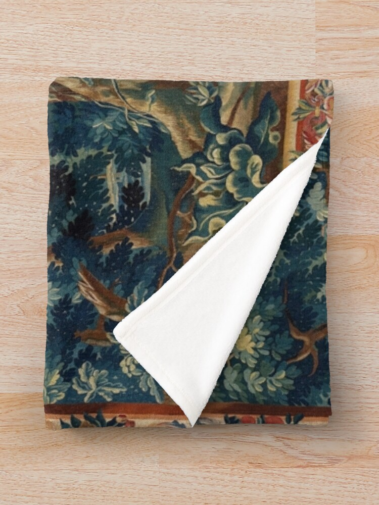 Alternate view of GREENERY, TREES IN WOODLAND LANDSCAPE Antique Flemish Tapestry Throw Blanket