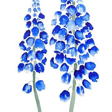 2 acuarela abstracta azul jacinto de uva de ColorandColor