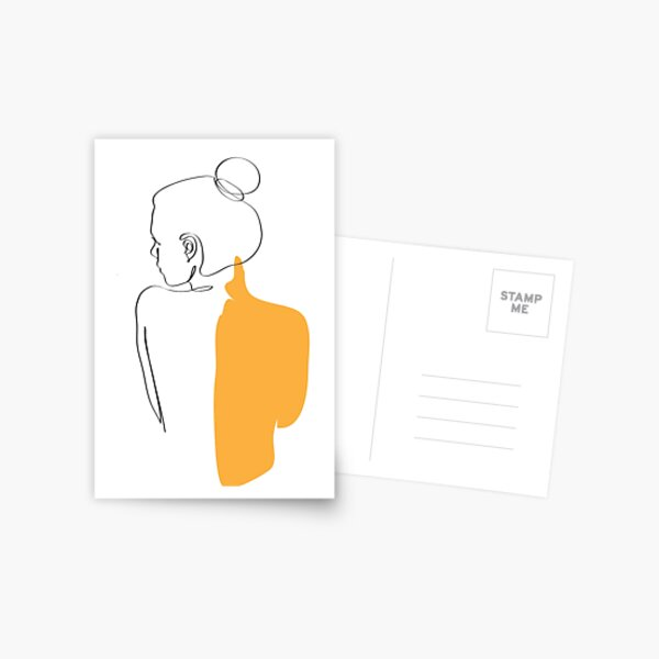 minimalist yellow woman  Postcard