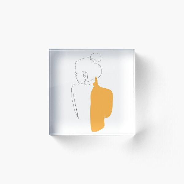 minimalist yellow woman  Acrylic Block