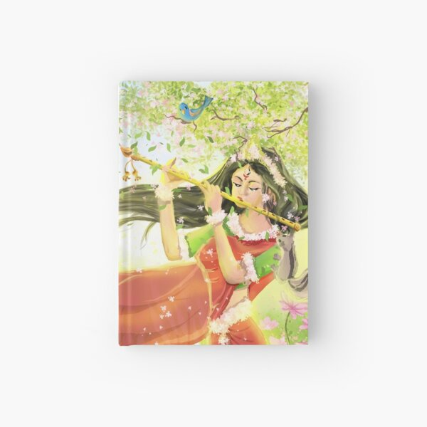 Flute playing lady Hardcover Journal