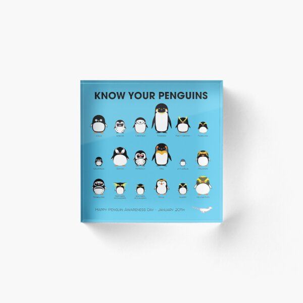 Know Your Penguins Acrylic Block