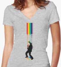 Somewhere Over the Rainbow - Someone's Getting Wet Women's Fitted V-Neck T-Shirt