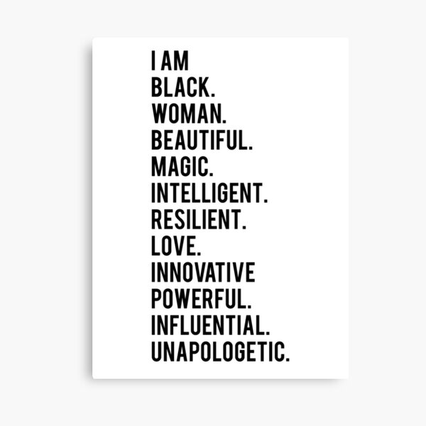 I Am Black Woman | African American | Black Lives Canvas Print