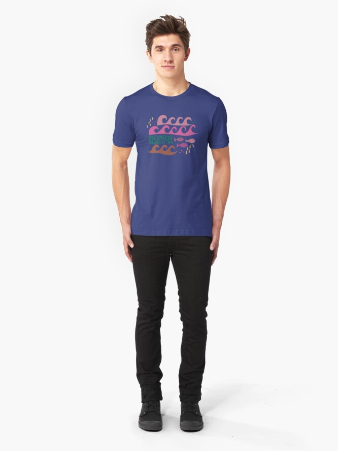 Alternate view of Bondi Beach Modern Vintage/Retro original design Slim Fit T-Shirt