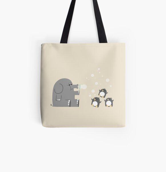 Elephants & Penguins love bubbles. All Over Print Tote Bag