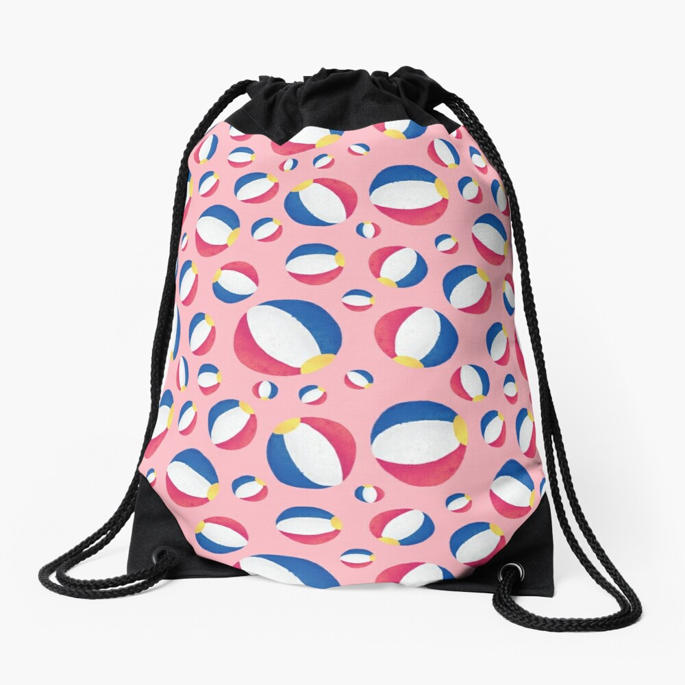 Pink Summertime Beachballs Drawstring Bag