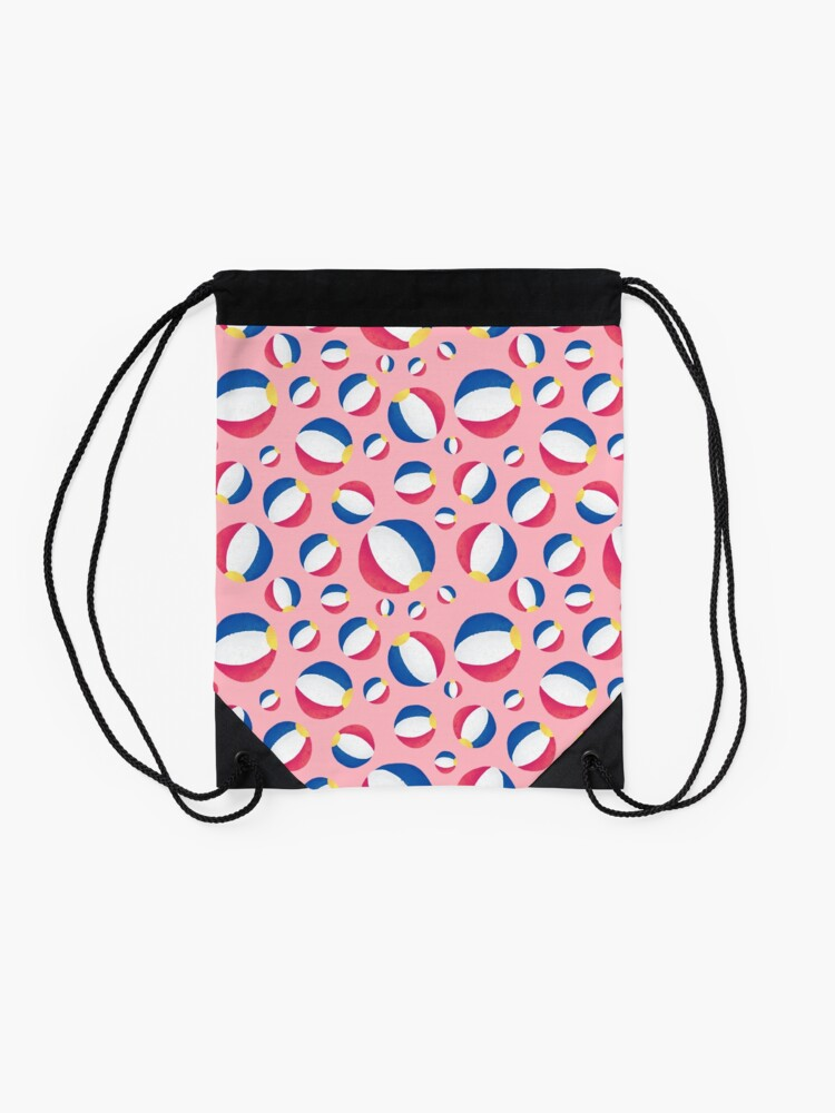 Alternate view of Pink Summertime Beachballs Drawstring Bag