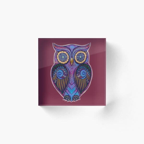 Ornate Owl 9 Acrylic Block