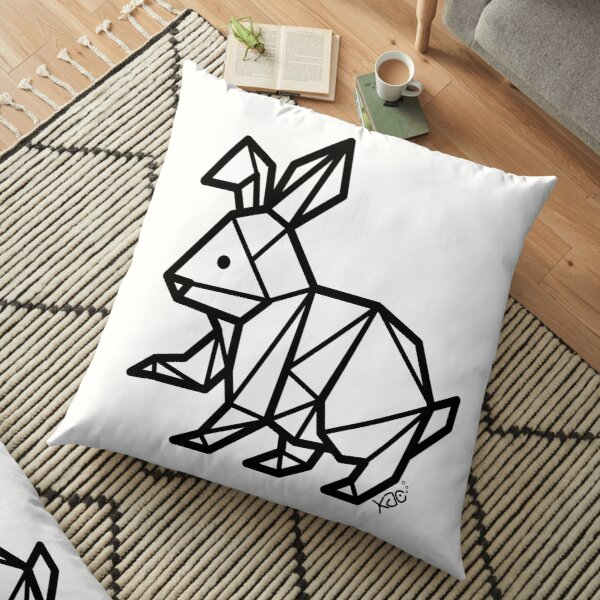 Geometric Bunny (Black Lines) Floor Pillow