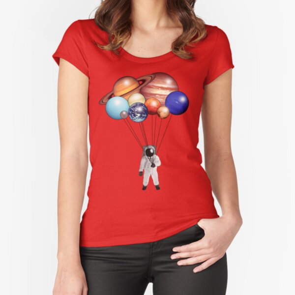 Astronaut Balloons Fitted Scoop T-Shirt