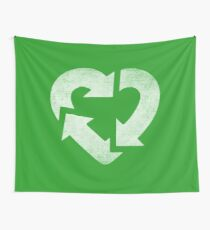 Recycle Logo Heart Wall Tapestry
