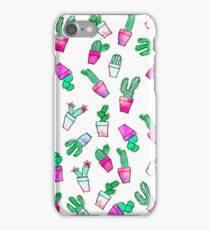 Cute pink green watercolour trendy cactus pattern  iPhone Case/Skin