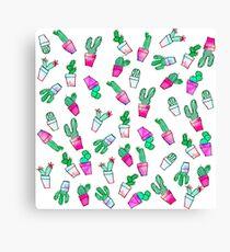 Cute pink green watercolour trendy cactus pattern  Canvas Print