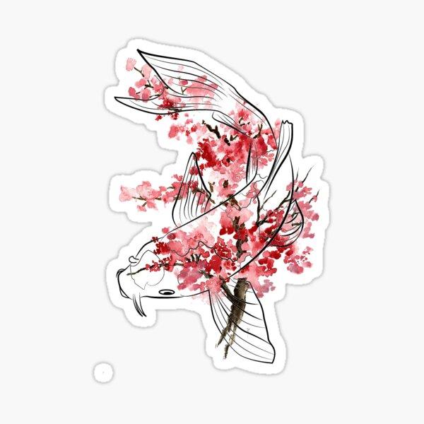 Cherry Blossom Koi Sticker