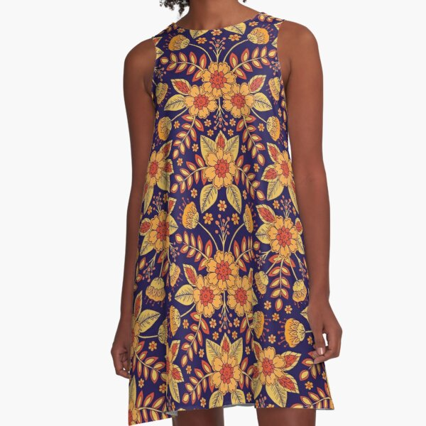 Vibrant Blue, Yellow and Orange Floral A-Line Dress