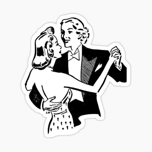 """May I have This Dance?"" Retro Lesbian Couple Sticker"