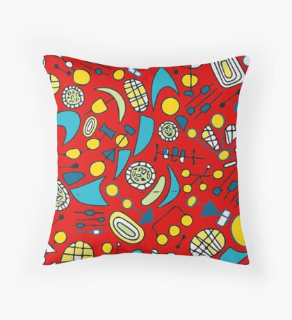 Metro Red Colorful Pattern Throw Pillow
