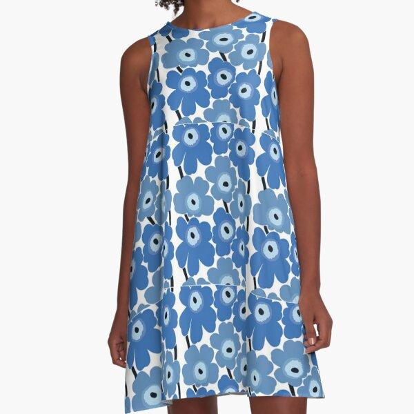 Marimekko Blue Floral Print A-Line Dress