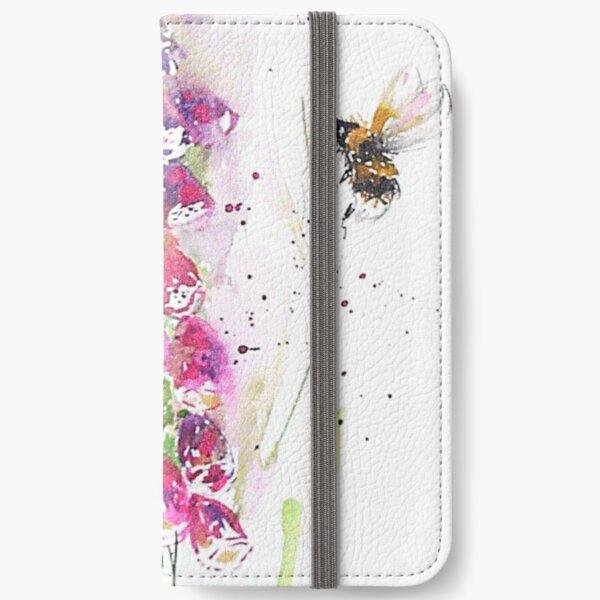 Bumble bees among foxglove iPhone Wallet