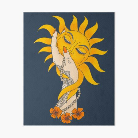 Tattooed Witchy Woman's Hand Holding the Sun Art Board Print
