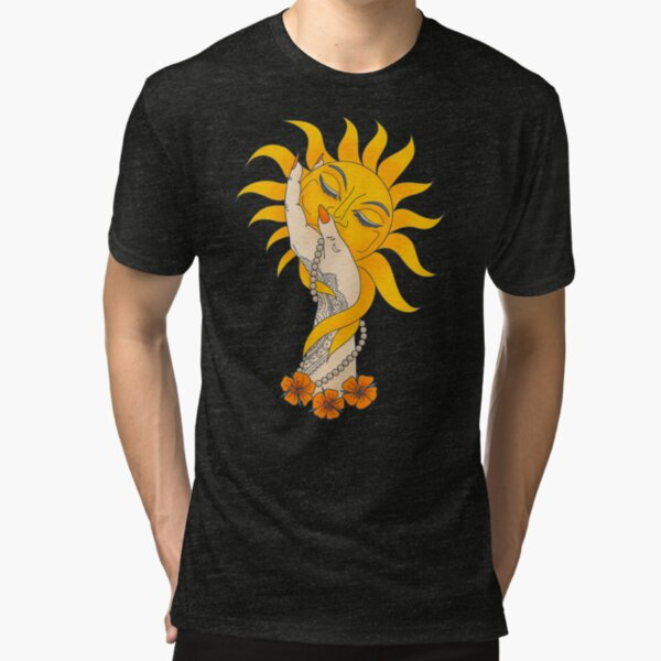 Tattooed Witchy Woman's Hand Holding the Sun Tri-blend T-Shirt
