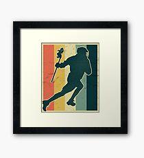 Lacrosse Payer Silhouette auf Vintage Farbpalette Gerahmtes Wandbild