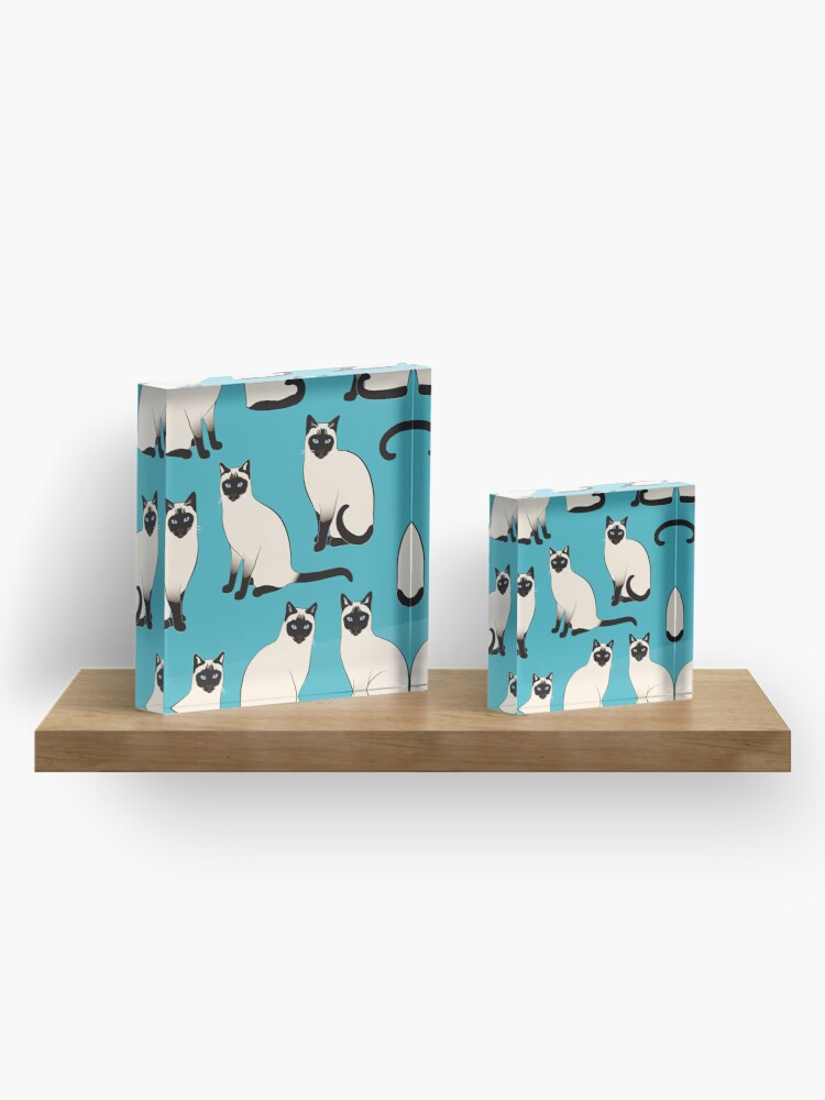Alternate view of Siamese Cats - sparse pattern Acrylic Block