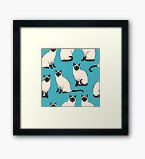 Siamesische Katzen - spärliches Muster Gerahmtes Wandbild