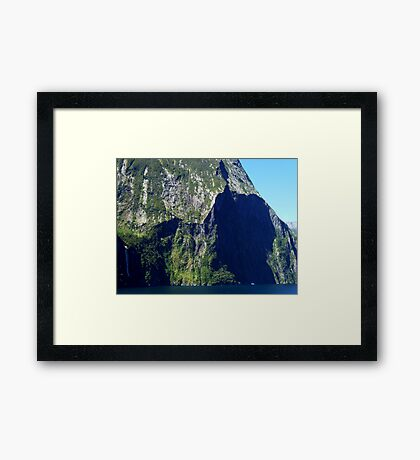 So Tiny Before Nature's Immensity in Milford Sound NZ Framed Print