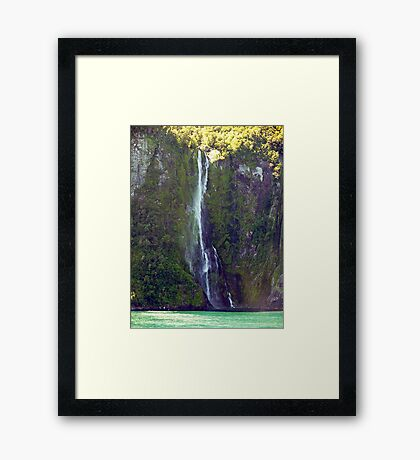 Water in Free-Fall Milford Sound NZ Framed Print