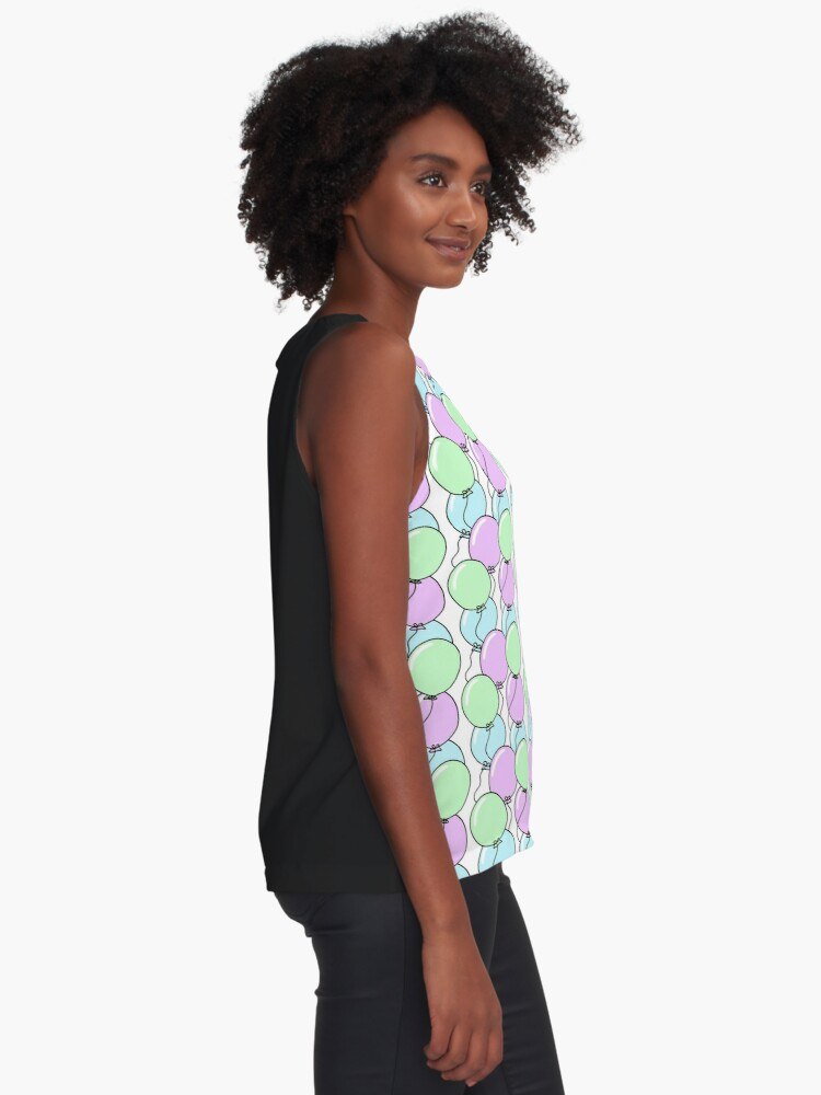 Alternate view of Birthday Party Balloons | Mint, Purple, Blue Sleeveless Top