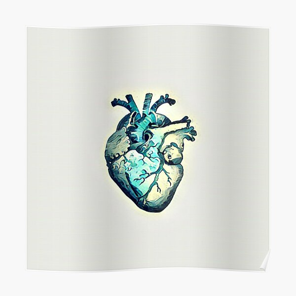 Great Wave Anatomical Heart- ALTERED Poster