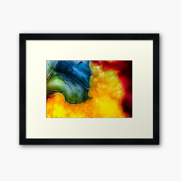 Abstract  food dye on milk Framed Art Print