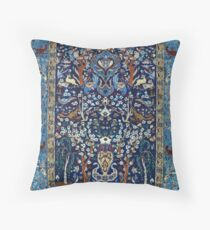 Blue Antique Persian Isfahan Silk Rug with Flowers Animals Throw Pillow
