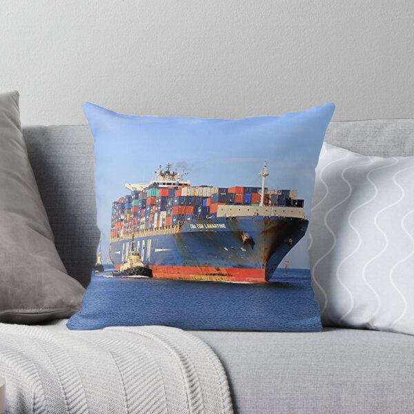 Lamartine container ship Throw Pillow