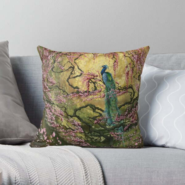 In Morning Light   Peacock and Blossoms Throw Pillow