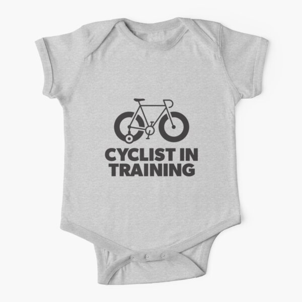 Cyclist in Training Kids T-shirt and sticker Short Sleeve Baby One-Piece