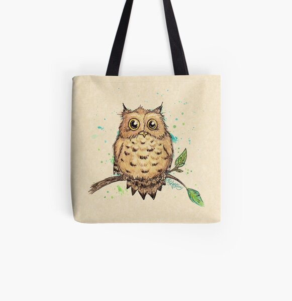 """""""Hoo, Me?"""" Baby Owl by Amber Marine, watercolor & ink, © 2019  All Over Print Tote Bag"""