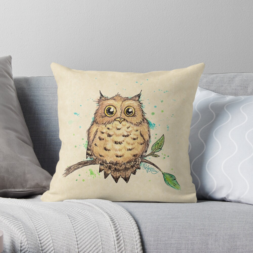 """""""Hoo, Me?"""" Baby Owl by Amber Marine, watercolor & ink, © 2019  Throw Pillow"""