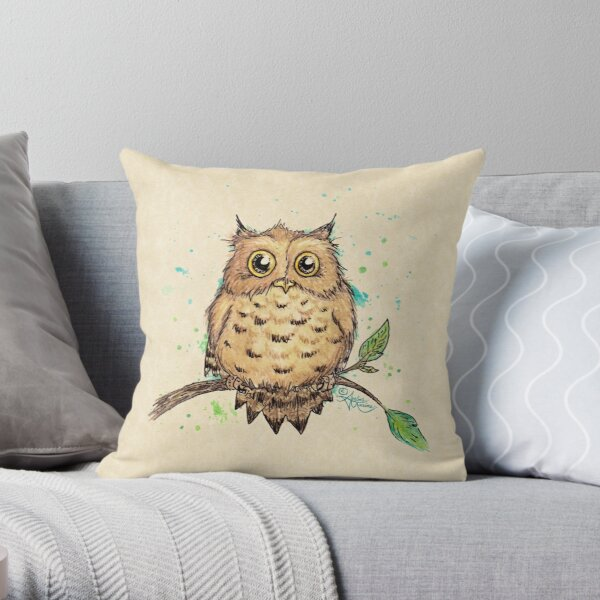 """Hoo, Me?"" Baby Owl by Amber Marine, watercolor & ink, © 2019  Throw Pillow"