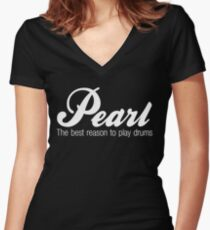 White Pearl  Drums Women's Fitted V-Neck T-Shirt