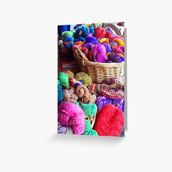 Coloured Wool Market Greeting Card