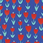Blue Red Tulips by Sandra Hutter