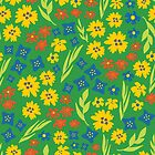 Summer flower seamless repeat pattern green by Sandra Hutter