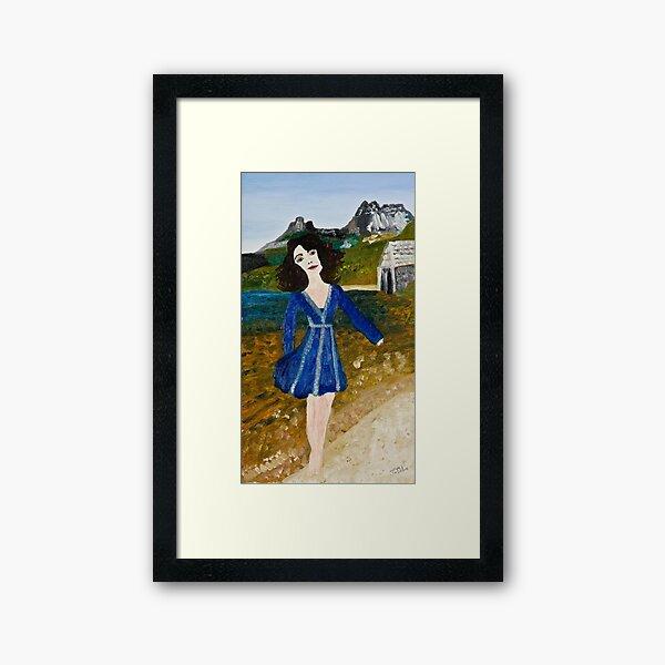 Woman at Dove Lake Framed Art Print