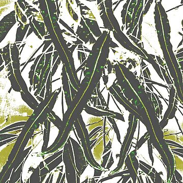 Gum Leaves Layered Pattern Olive by Ohlordi