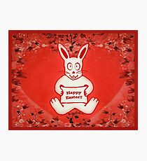 Cute Bunny Happy Easter Drawing Illustration Design Photographic Print